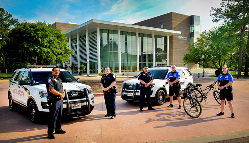 UPD patrol units in front of the STEM Building