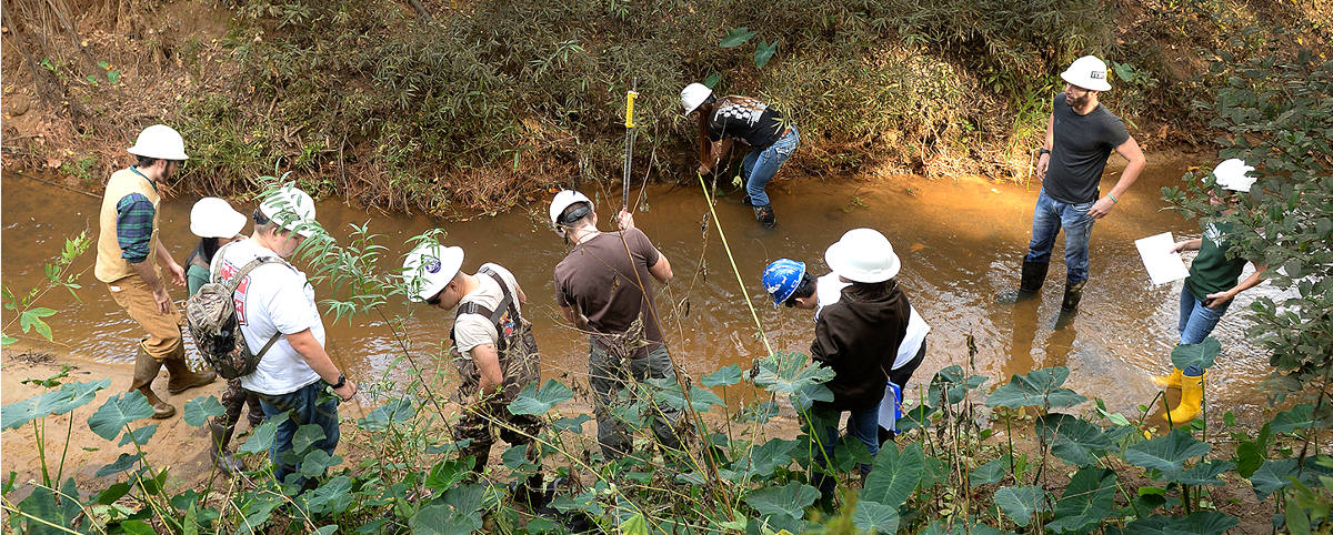 students studying hydrology
