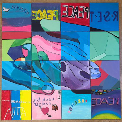 a photo of the colorful mural created online by art education majors at SFA and student artist participants of the Boys and Girls Club of Deep East 德克萨斯州